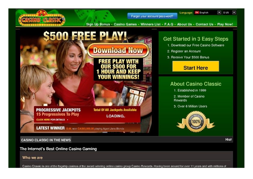 Casino Classic review on Big Bonus Slots