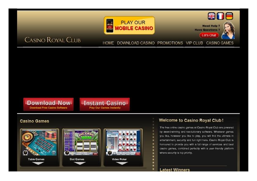 Casino Royal Club review on Big Bonus Slots