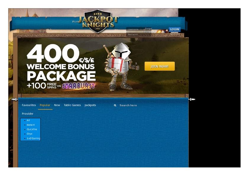 Jackpot Knights review on Big Bonus Slots
