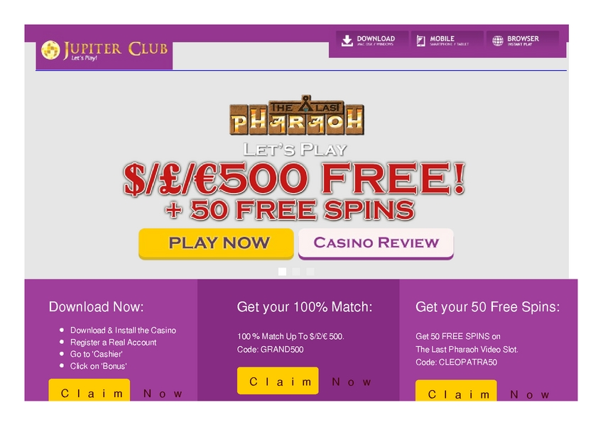 Jupiter Club review on Big Bonus Slots