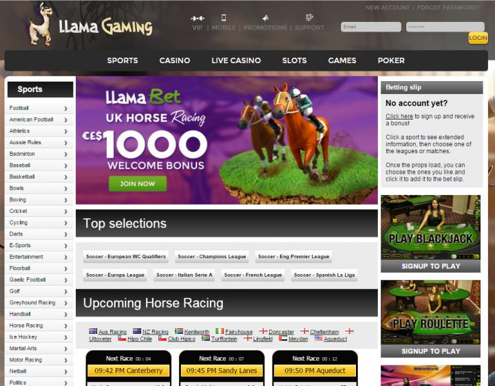 Llama Casino review on Big Bonus Slots