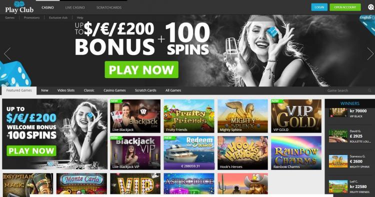 Play Club Casino review on Big Bonus Slots