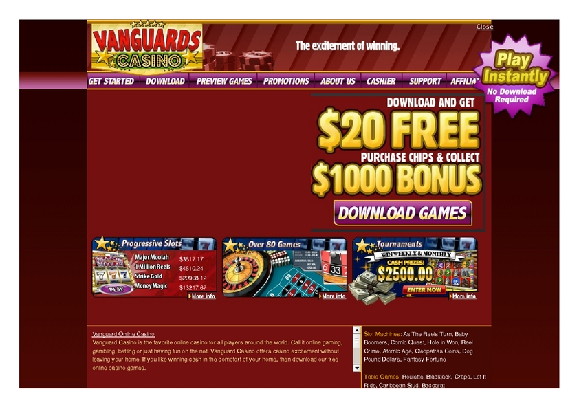 Vanguard review on Big Bonus Slots