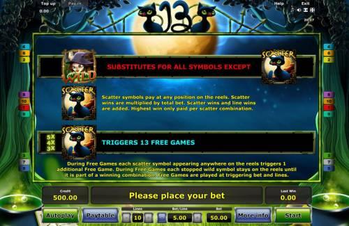 13 Big Bonus Slots Wild and Scatter Symbols Rules. Three scatter symbols triggers 13 free games.