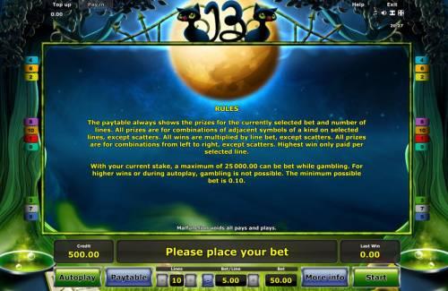 13 Big Bonus Slots General Game Rules