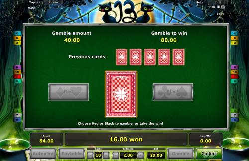 13 Big Bonus Slots Gamble Feature - To gamble any win press Gamble then select Red or Black.