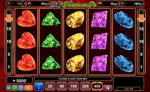 20 Diamonds Big Bonus Slots Main Game Board