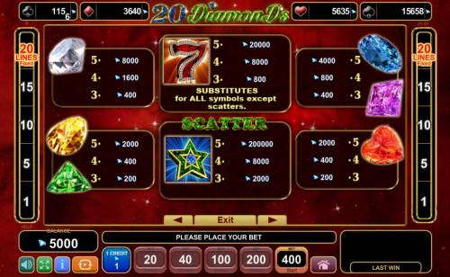 20 Diamonds Big Bonus Slots Paytable