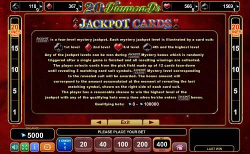 20 Diamonds Big Bonus Slots Jackpot Cards Rules
