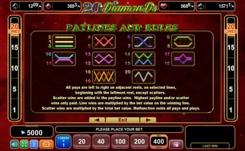 20 Diamonds Big Bonus Slots Paylines 1-20