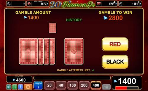 20 Diamonds Big Bonus Slots Gamble Feature Game Board