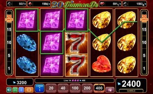 20 Diamonds Big Bonus Slots Stacked wilds triggers a big win