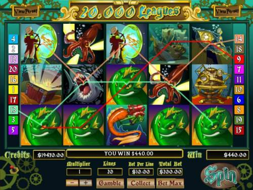 20,000 Leagues Big Bonus Slots A $440 jackpot triggered by multiple winning paylines.