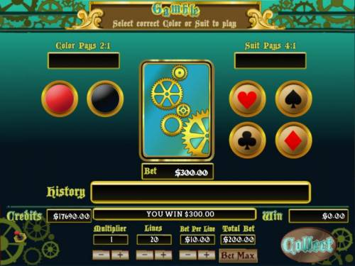 20,000 Leagues Big Bonus Slots Gamble feature is available after each winning spin. Select color or suit to play.