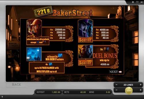221B Baker Street Big Bonus Slots High value slot game symbols paytable