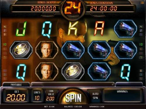 24 Big Bonus Slots Main game board featuring five reels and 10 paylines with a Bonus Jackpot max payout