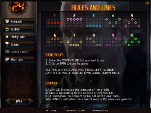 24 Big Bonus Slots Game Rules and Payline Diagrams