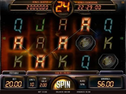 24 Big Bonus Slots Four of a Kind triggers a  $40.00 line pay