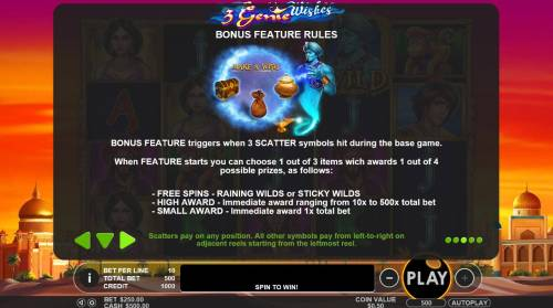 3 Genie Wishes review on Big Bonus Slots