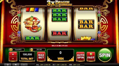 3x Dragon Supreme Big Bonus Slots Main Game Board