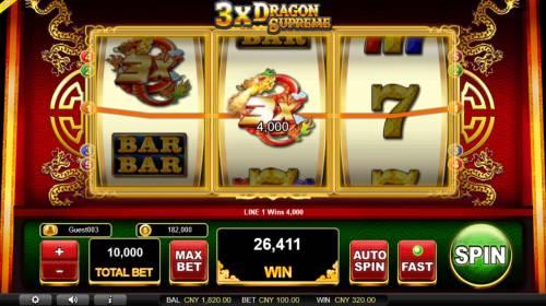 3x Dragon Supreme Big Bonus Slots Wild Multiplier triggers a big win