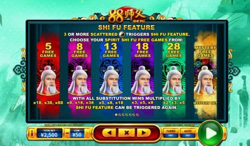 88 Shi fu Big Bonus Slots Free Spins Bonus Game Rules