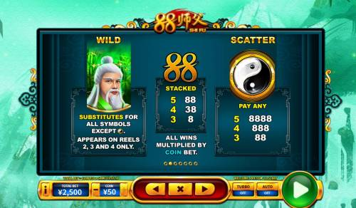 88 Shi fu Big Bonus Slots Wild and Scatter Symbols Rules and Pays
