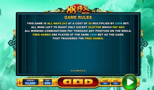 88 Shi fu Big Bonus Slots General Game Rules