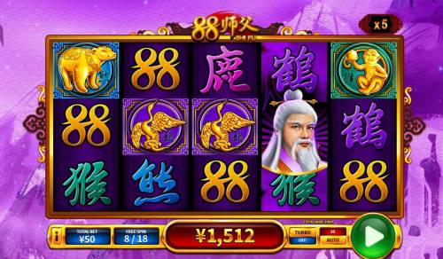 88 Shi fu Big Bonus Slots A winning Five of a Kind
