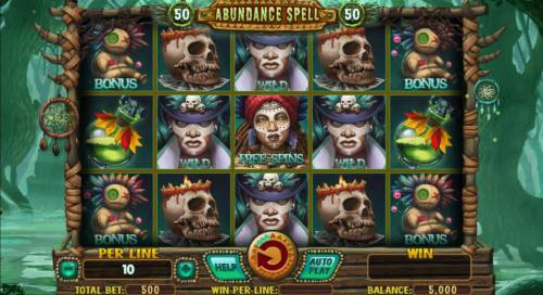 Abundance Spell Big Bonus Slots Main game board featuring five reels and 50 paylines with a $8,000 max payout.
