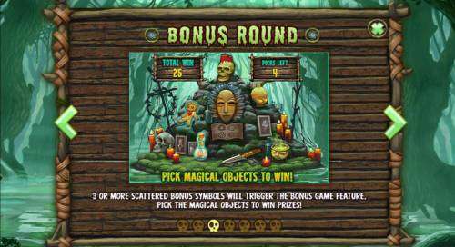 Abundance Spell Big Bonus Slots Bonus Round - 3 or more scattered bonus symbols will trigger the bonus game feature. Pick the magical objects to win prizes.