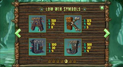 Abundance Spell Big Bonus Slots Low value game symbols paytable.