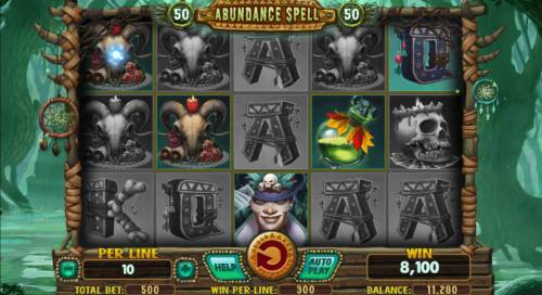 Abundance Spell Big Bonus Slots Multiple winning paylines triggers an 8,100 mega win!