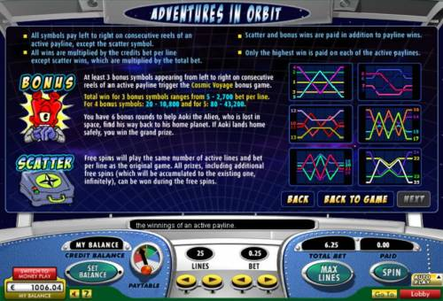 Adventures in Orbit Big Bonus Slots Bonus and scatter game rules and payline diagrams