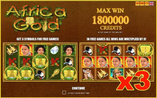 Africa Gold Big Bonus Slots Game features include: Free Games, Scatters, Wilds and a Max Win of up to 1800000 credits