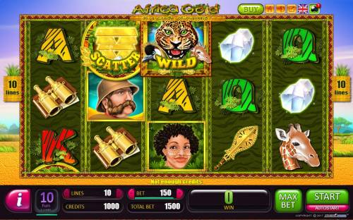 Africa Gold Big Bonus Slots Main game board featuring five reels and 10 paylines with a $1,800,000 max payout.