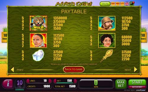 Africa Gold Big Bonus Slots High value slot game symbols paytable