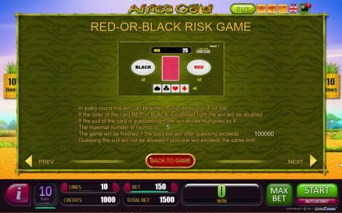 Africa Gold Big Bonus Slots Red-Or-Black Risk Game Rules