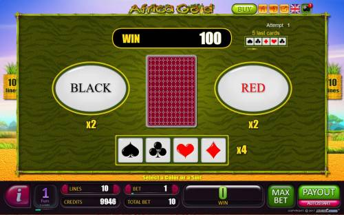 Africa Gold Big Bonus Slots Red-Or-Black Risk Game - To gamble any win press Gamble then select Red or Black.