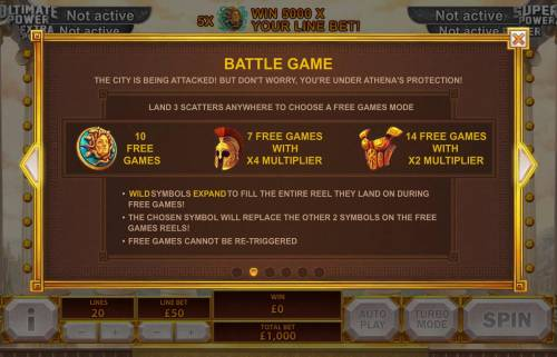 Age of the Gods Goddess of Wisdom Big Bonus Slots Battle Game - Land 3 scatters anywhere to choose from one of three Free Games Mode - 10 free games, 7 free games with x4 multipllier or 14 free games with x2 multiplier