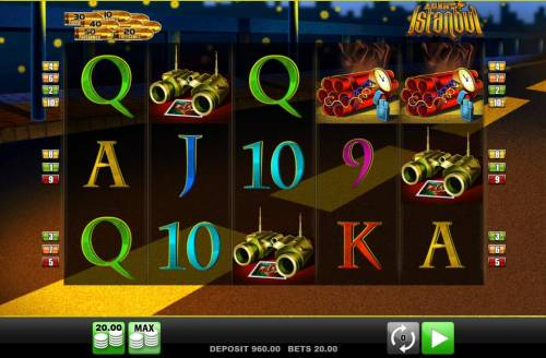 Agent Istanbul Big Bonus Slots Main game board featuring five reels and 10 paylines with a $10,000 max payout.