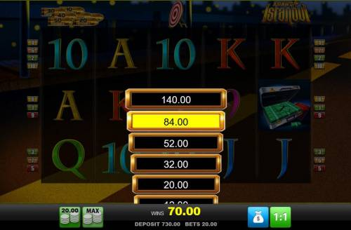 Agent Istanbul Big Bonus Slots Ladder Gamble Feature Game Board available after every winning spin.