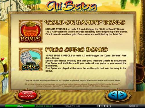Ali Baba Big Bonus Slots Gold or Bandit Bonus and Free Spins Bonus feature game rules