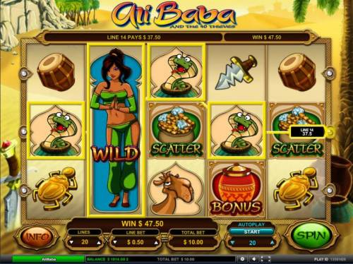 Ali Baba Big Bonus Slots sticky wild combines with mulple winning paylies to trigger a 47.40 coin jackpot