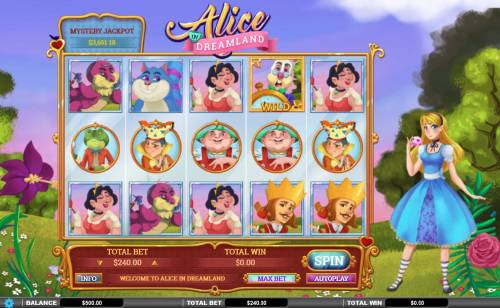 Alice in Dreamland Big Bonus Slots Main game board featuring five reels and 243 winning combinations with a $72,000 max payout