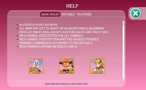 Alice in Dreamland Big Bonus Slots Basic Game Rules