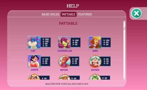 Alice in Dreamland Big Bonus Slots Slot game symbols paytable