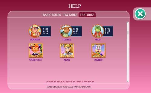 Alice in Dreamland Big Bonus Slots Slot game symbols paytable - Continued