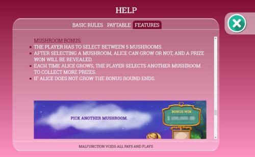 Alice in Dreamland Big Bonus Slots Mushroom Bonus Game Rules