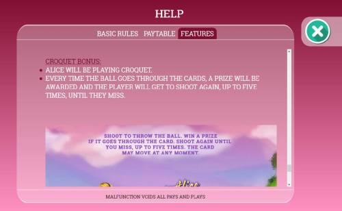 Alice in Dreamland Big Bonus Slots Croquet Bonus Game Rules